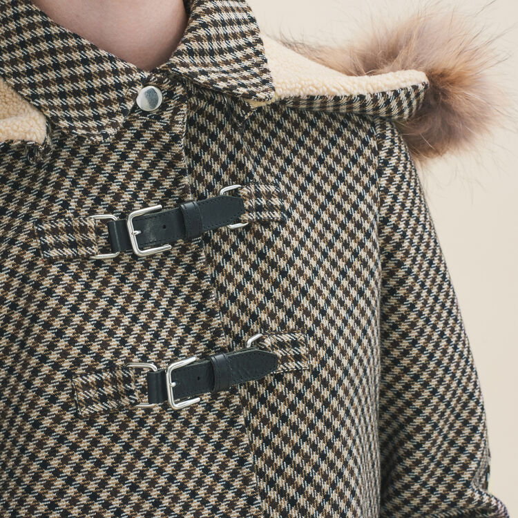 Karierter Mantel im Glencheck-Stil : Manteaux farbe Jacquard