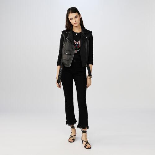Jeans mit geradem Schnitt und Fransen : Hosen farbe Schwarz