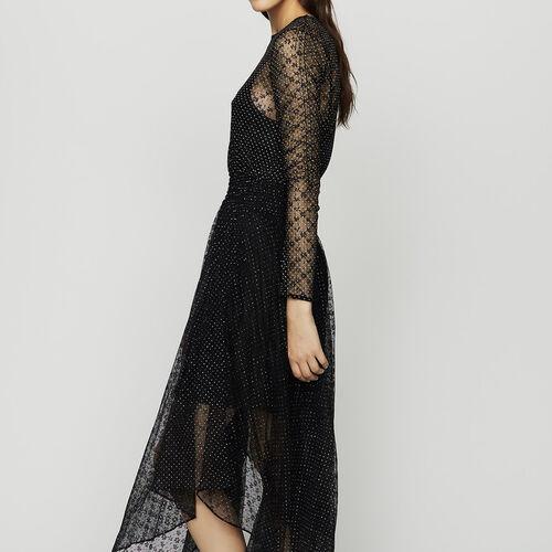 Kleid aus geflocktem Tüll : Kleider farbe Schwarz