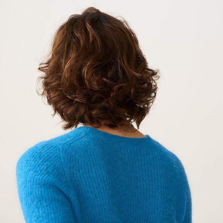 Kurzer Mohair-Pullover : Strickwaren farbe Blau