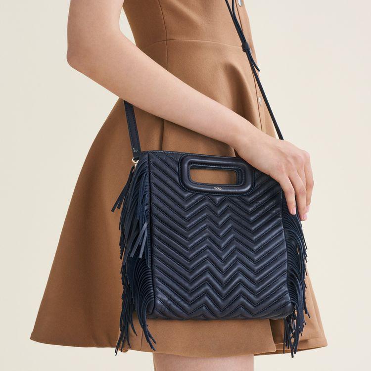 M Tasche aus gestepptem Leder : Bags farbe Marineblau