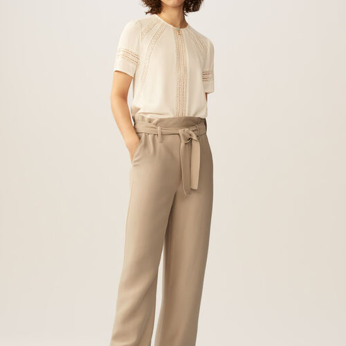 Wide leg trousers with belt : Hosen farbe Beige