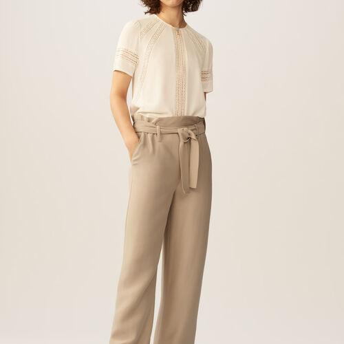 Weite Hose mit Gürtel : Hosen farbe Beige