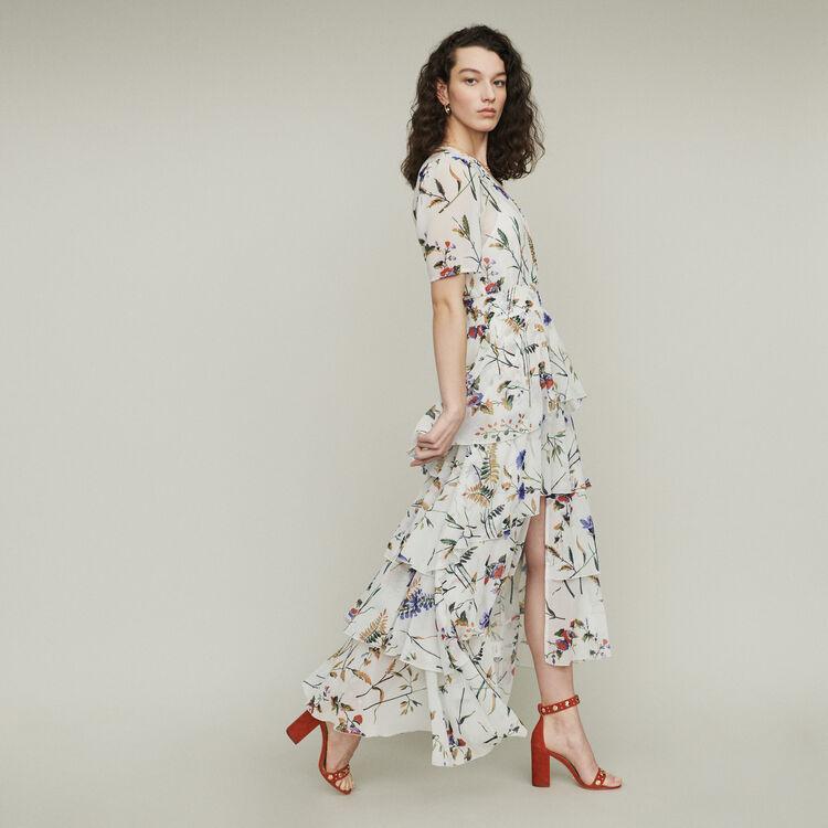 Printed long dress with ruffles : Kleider farbe SCHWARZ