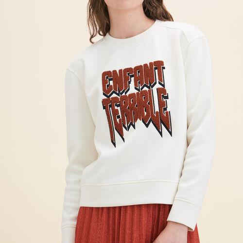 Sweatshirt aus Neopren : Pulls & Cardigans farbe Ecru