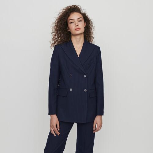 Doppelt-geknöpfte Jacke mit Streifen : Winter Kollektion farbe Marineblau