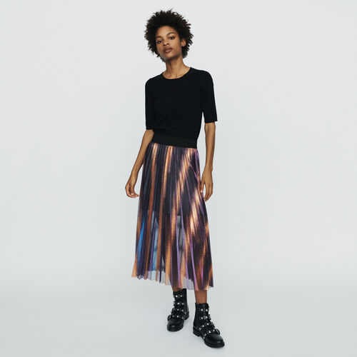 Langer Plissee-Rock : Röcke & Shorts farbe Mehrfarbigen