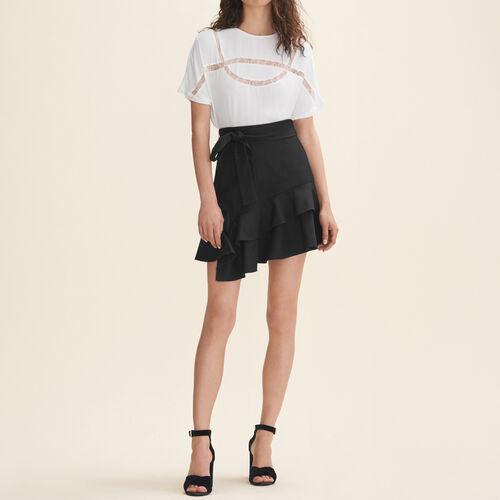 Fließendes T-Shirt mit Spitze : Tops farbe Weiss