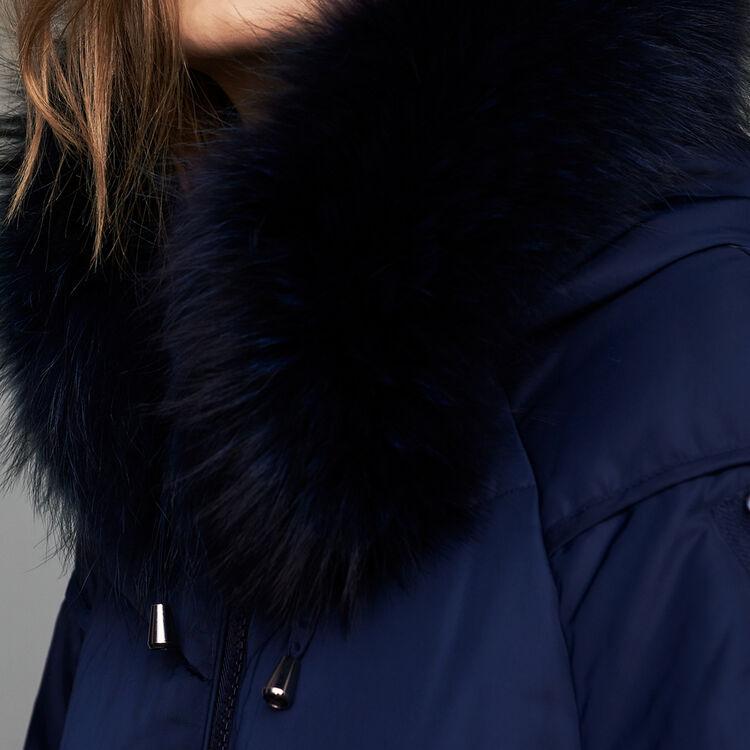 Lange Daunenjacke mit Pelz : Mäntel farbe Marineblau