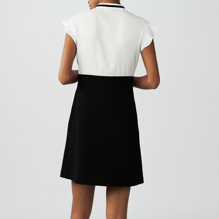 Zweifarbiges Krepp-Kleid : Kleider farbe Ecru