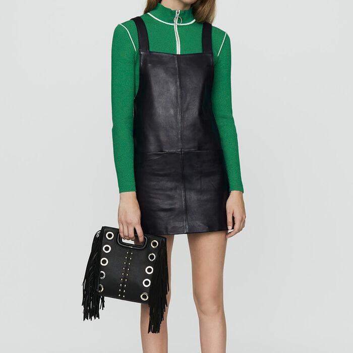 Tunika-Kleid aus Leder : Kleider farbe Schwarz
