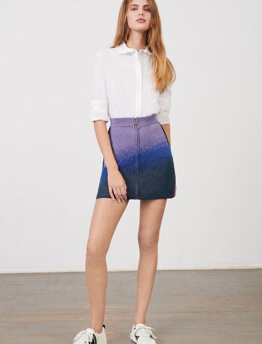 Rock aus Lurex-Strick mit Reißverschluss : Röcke & Shorts farbe Bleu/Vert/Violet