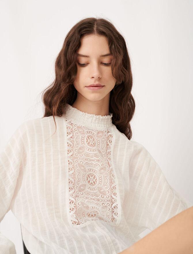 Top aus Baumwolle, Lurex und Spitze - Tops & Hemden - MAJE
