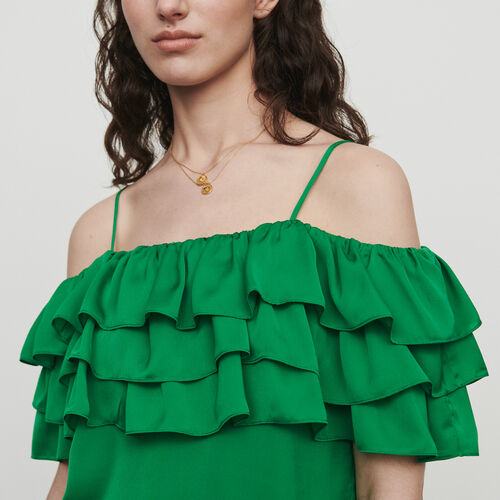 Trägertop mit Volants : Tops & Hemden farbe Mandarine