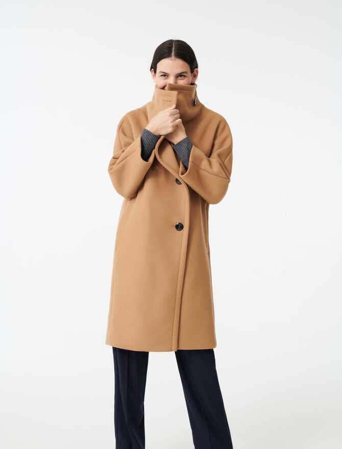 Long coat with wide woolen collar - Mäntel & Jacken - MAJE