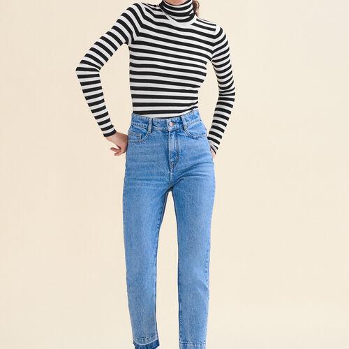 Verwaschene Jeans mit geradem Schnitt : Alles einsehen farbe Blau