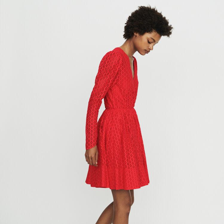 Kleid mit Geometrischer Guipure : Kleider farbe Rot