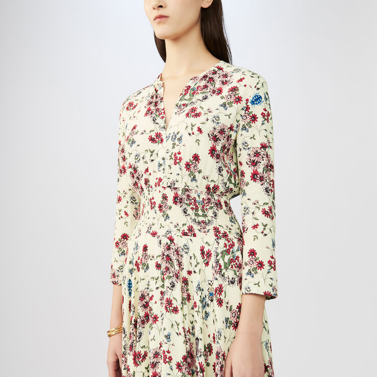 Asymmetrisches bedrucktes Krepp-Kleid : Kleider farbe IMPRIME