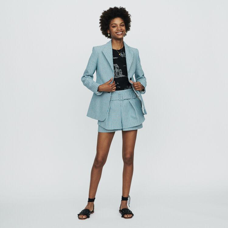 Shorts aus Natté-Gewebe mit Tweed-Effekt : Röcke & Shorts farbe Blau