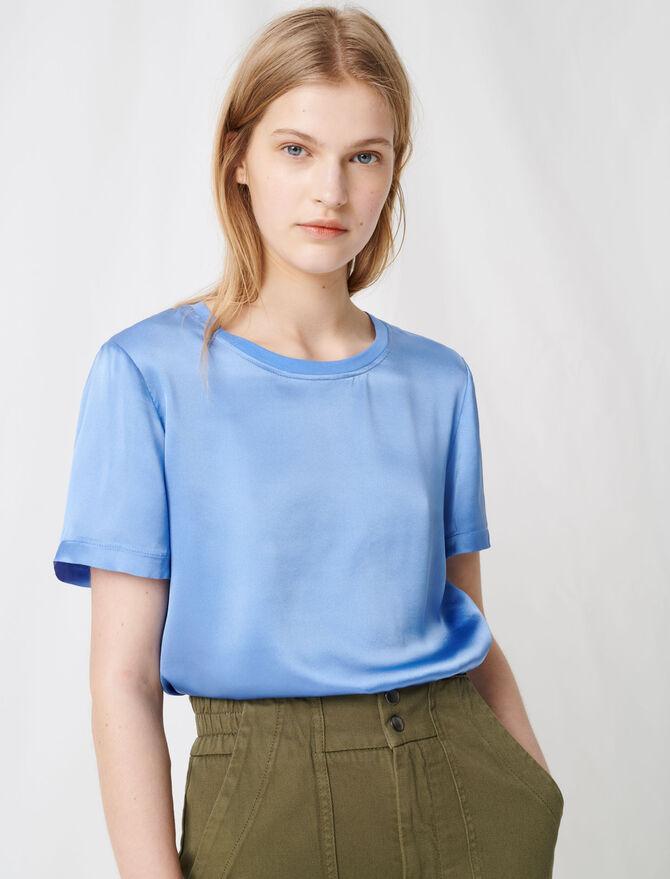 T-Shirt aus Baumwolle und Seide - T-Shirts - MAJE