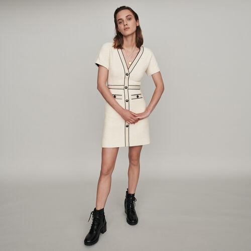 Kleid mit Tweed-Effekt : Winter Kollektion farbe Ecru