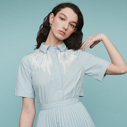 Plissee-Hemdkleid : Kleider farbe Blau