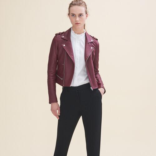 Leder-Blouson : Jacken farbe Burgunderrot