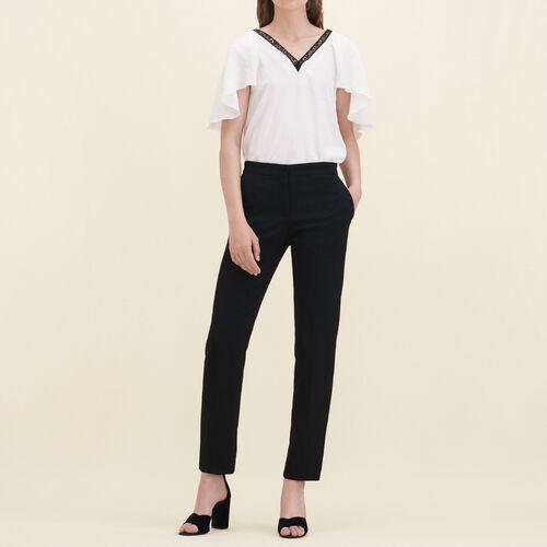 Gerade geschnittene Crêpehose : Hosen und Jeans farbe Schwarz