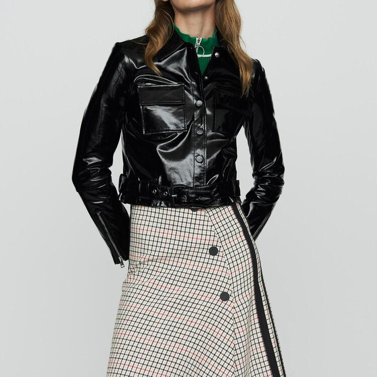 Kurze Jacke aus Vinylleder : Jacken farbe Schwarz