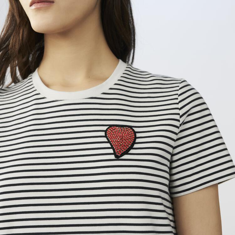 Gestreiftes T-Shirt mit Emblem : T-Shirts farbe Gestreift