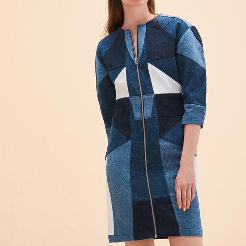 Patchwork-Kleid aus Jeans : Kleider farbe Blau