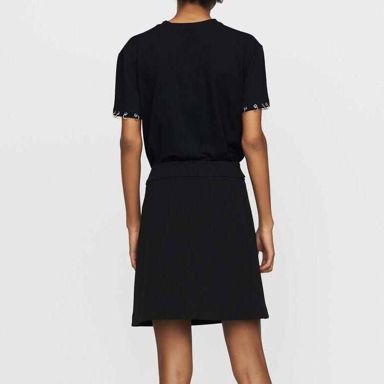 Baumwoll-T-Shirt mit Ösen : T-Shirts farbe Schwarz