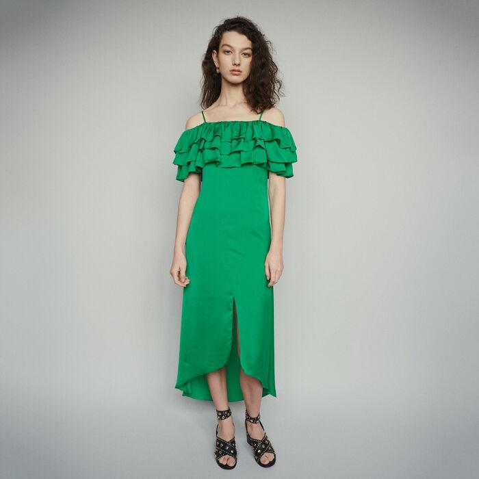 Midi Trägerkleid mit Rüschen : Kleider farbe Grün