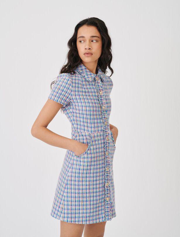 마쥬 원피스 MAJE Buntes Kleid in Tweed-Optik,Mehrfarbigen
