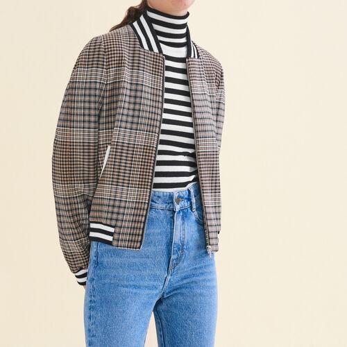 Karierter Blouson im Teddy-Stil : Jacken farbe Jacquard