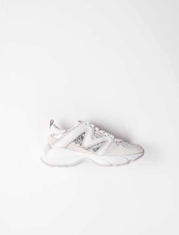 마쥬 스니커즈 MAJE Sneakers W22 mit Paillettenbesatz,Silber