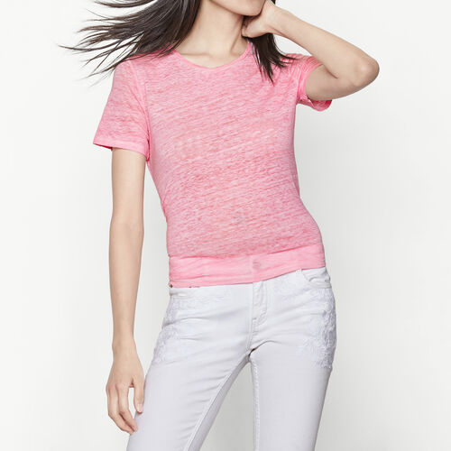 T-Shirt, in der Taille geknotet : T-shirts farbe Rosa