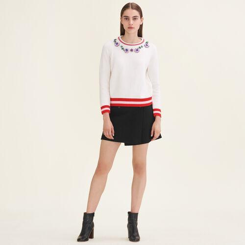 Pullover mit Schmuckdetails : Strickwaren farbe Ecru