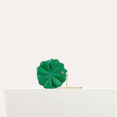 Runde Ledertasche mit Kleeblatt : Kategorien farbe Grün