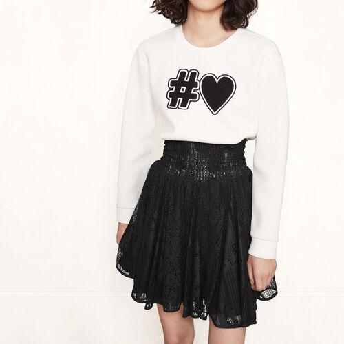 Kurzer Rock aus Spitze mit Smokarbeit : Röcke und Shorts farbe Schwarz