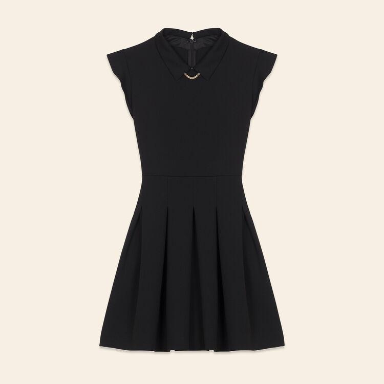 Plissiertes Kleid aus Krepp : Robes farbe Schwarz
