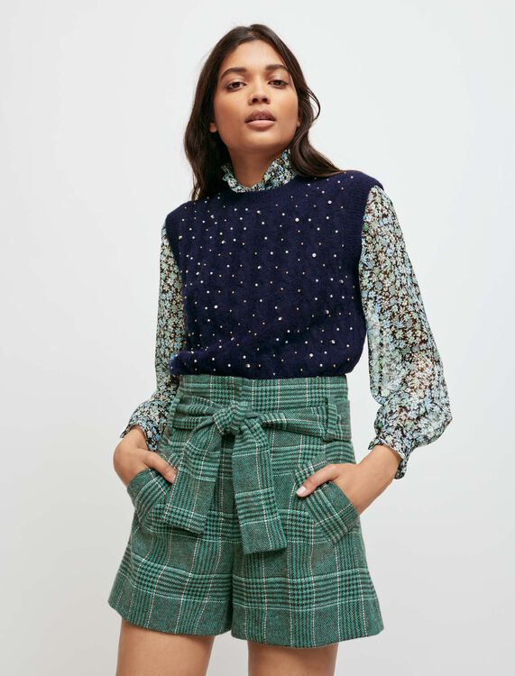 Karierte Shorts mit Gürtel - Röcke & Shorts - MAJE