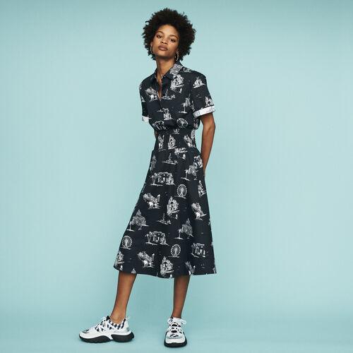 Midi-Kleid mit Paris Print : Kleider farbe Schwarz