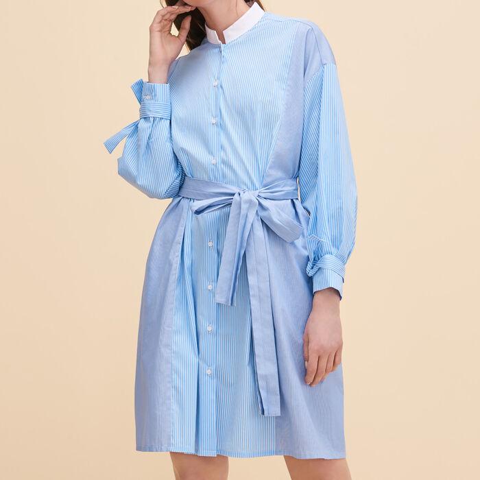 Gestreiftes Hemdkleid : Kleider farbe Blau