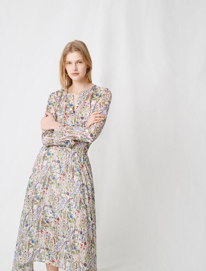 Langes, asymmetrisches florales Kleid - Kleider - MAJE