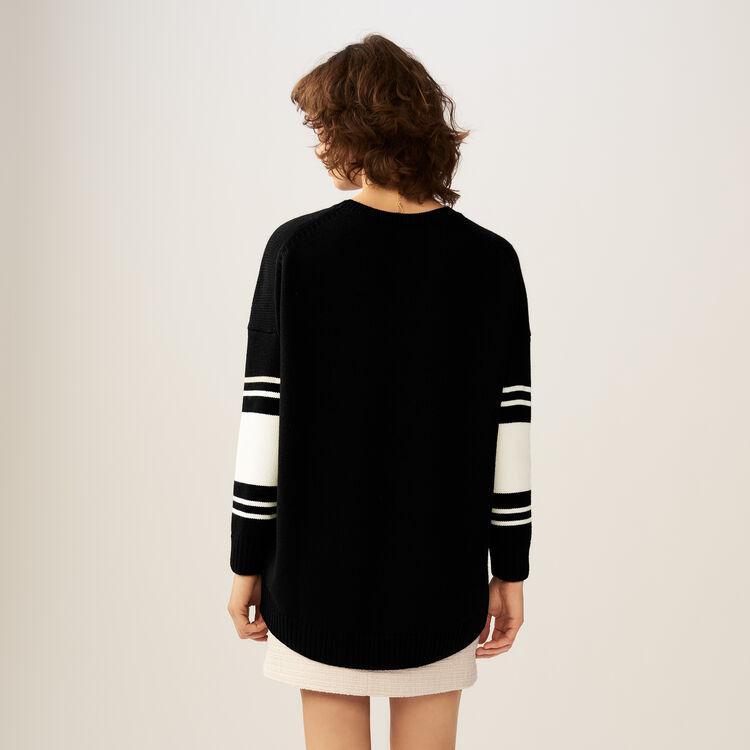 Pullover mit Streifen und Pailletten : Strickwaren farbe Schwarz