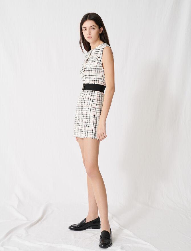 Minikleid aus Tweed mit Gürtel - Kleider - MAJE