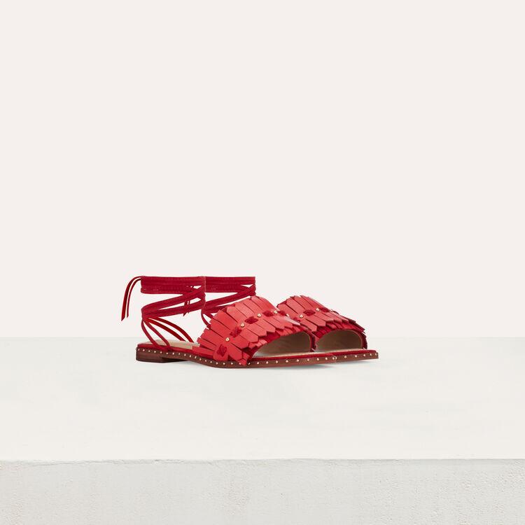 Flache Sandalen mit Schnürung : Flache Schuhe farbe Rot