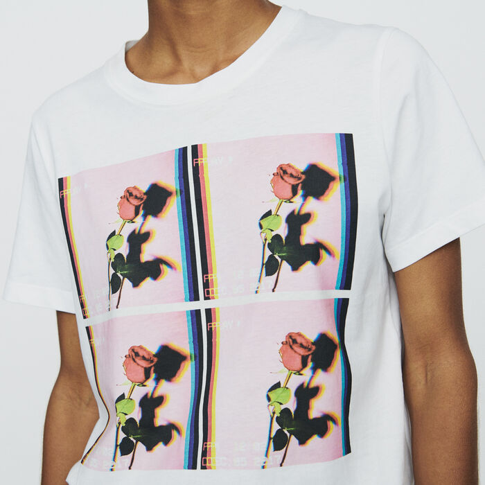 Bedrucktes T-Shirt : T-Shirts farbe Weiss