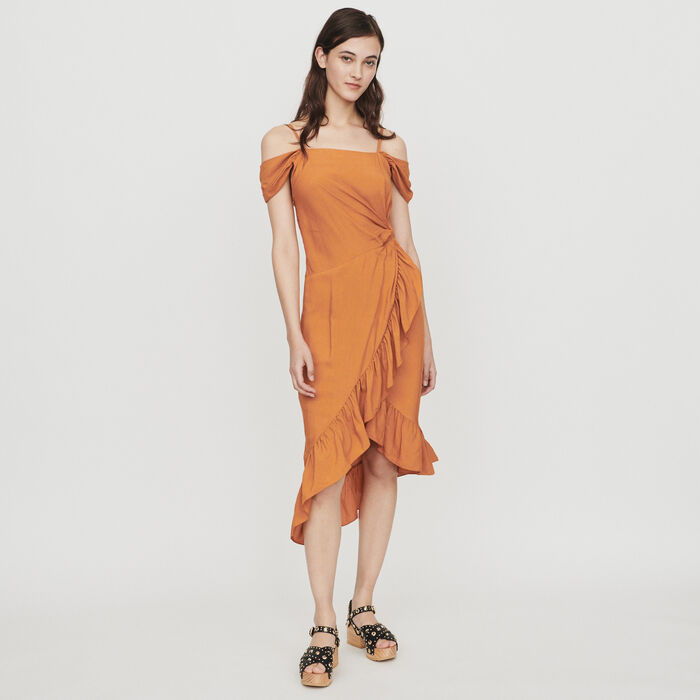 Schulterfreies Midi Bleistift Kleid : Kleider farbe Terracotta